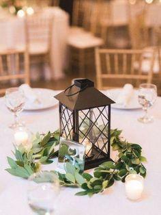 Lantern Centerpiece Wedding, Greenery Centerpiece, Wedding Lanterns, Wedding Table Centerpieces, Flower Centerpieces, Wedding Decorations, Table Decorations, Centerpiece Ideas, Wedding Ideas