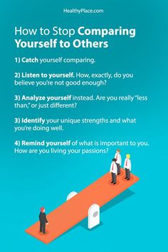 """""""Comparing yourself to others is dangerous, but can you really stop? Here are 5 simple steps to stop comparing yourself to others at HealthyPlace."""" www.HealthyPlace.com"""