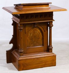 Lot 39: Jacobean Style Mixed Wood Pulpit; 18th century, from a historic church in Indiana, made of mahogany, walnut and pine; sold at auction in March, 2005 by the Chicago Architecture Foundation