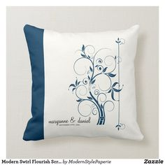 Shop Modern Swirl Flourish Scroll Vintage Leaf Pattern Throw Pillow created by ModernStylePaperie. Ring Bearer Pillows, Wedding Invitation Sets, Life Design, In The Tree, Graphic Design Typography, Custom Pillows, Flourish, Modern, Contemporary