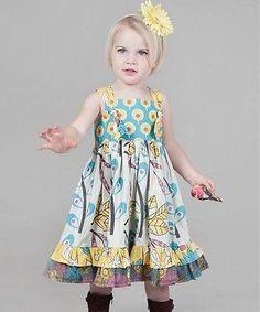 NWT JELLY THE PUG Sz 5 Boutique Yellow & Aqua Dazzle Bella Knot Dress New