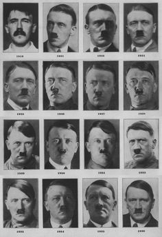 "frauleinevabraun: "" georgieporgitheweird: "" frauleinevabraun: "" jochenmarseille: "" Adolf Hitler from 1916 to 1936 "" He only got more handsome with time. "" Adolf looks angry in the 1932 one. Maybe it..."