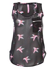 Miso Chiffon Bird Print Vest Top