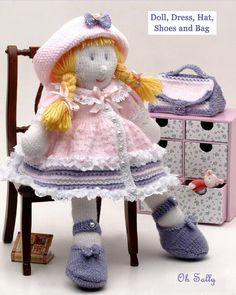 DK yarn knitted Doll with Accessories handbag shoes | Etsy Free Baby Patterns, Kids Knitting Patterns, Knitting For Kids, Knitting Yarn, Free Knitting, How To Start Knitting, Knitted Dolls, Stuffed Toys Patterns, Free Baby Stuff