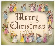 Vintage Greeting CardMerry Christmas Angels Candles Procession Pastel L35