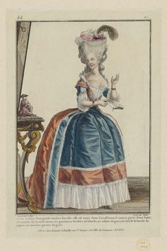 Jeune Actrice Bourgeoise étudiant son rôle: elle est vetue d'une Circassienne, le juppon garni d'une bande de couleur de la robe: toutes les garnitures bordées de blonde, un volant de gaze au bas de la bande du juppon: les manches garnies de gaze.
