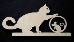 Wanddecoratie boven deur kat met muis 1