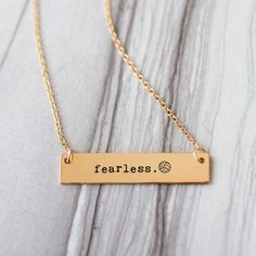 Fearless Volleyball Gold Bar Necklace