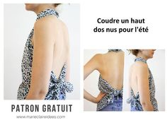 Coudre un haut pour l'été patron gratuit cliquez sur le lien bettinael Top Dos Nu, Backless Top, Shades Of White, Tee Shirts, Tees, Pure Products, Sewing, Formal Dresses, Passion