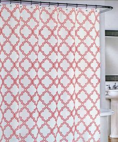 Cynthia Rowley Fabric Shower Curtain Red Quatrefoil Trellis Lattice Pattern on White