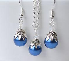 Sapphire blue bridesmaid jewelry set of necklace by LaurinWedding, $14.00