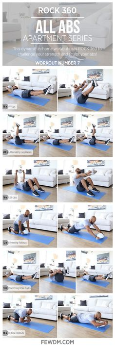 You can train your core with ROCK 360 on your feet and hands! These unique exercises keep boredom at bay.  Workout #7 in the Apartment Series, All Abs.