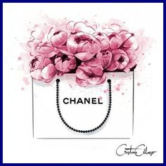 Image of Peonies + Chanel Print Mode Poster, Chanel Print, Chanel Poster, Chanel Logo, Chanel Chanel, Perfume, Fashion Wall Art, Decoupage, Illustration Art