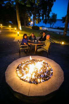 Share your drinks around the fire pit at Boathouse Patio. Good views, great company.