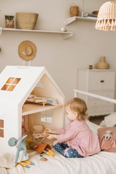 wooden DOLLHOUSE, no FURNITURE, for pretend playing , birthday gift for baby, modern kidsroom decor Furniture Showroom, Doll Furniture, Dollhouse Furniture, Modern Furniture, Wooden Dollhouse, Ikea Dollhouse, Modern Kids, Cabana, Kids Decor