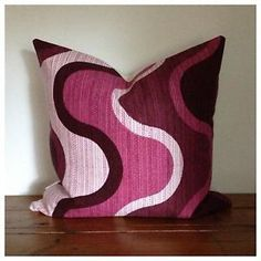 Vintage Retro Handmade 70s FabricCushion Cover, Pink & Purple, New