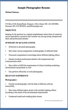 sample photographer resume freelance photographer resume
