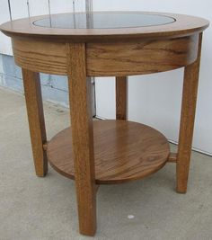 Amish Glass Top Table Oak Or Cherry Or Quarter Sawn Oak Hardwood Round With  Legs