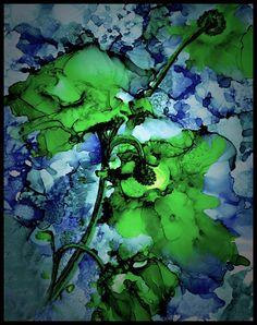 Encre alcool. Abstrait Art Print. Roses vertes.                                                                                                                                                      Plus