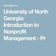 University of North Georgia: Introduction to Nonprofit Management - Pr