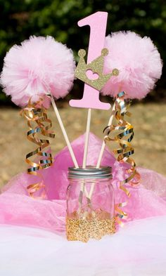 Princess Party Pink and Gold Centerpiece Table Decoration by GracesGardens on Etsy https://www.etsy.com/listing/218061309/princess-party-pink-and-gold-centerpiece