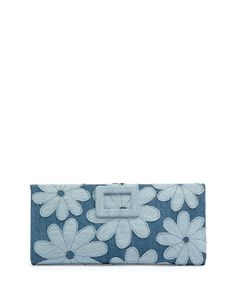 Floral-Denim Marguerite Buckle Wallet, Air Baltic, Blue - Roger Vivier