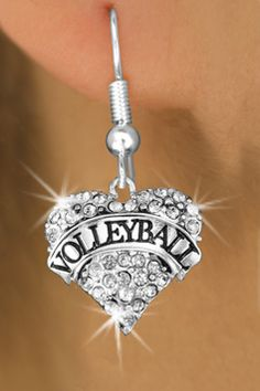 Antiqued Silver Tone and Clear Crystal Volleyball Heart Charm Fish Hook Earring by Lonestar Jewelry -- Awesome products selected by Anna Churchill Volleyball Accessories, Volleyball Necklace, Volleyball Outfits, Play Volleyball, Volleyball Gifts, Softball, Volleyball Training, Coaching Volleyball, Wire Jewelry Designs