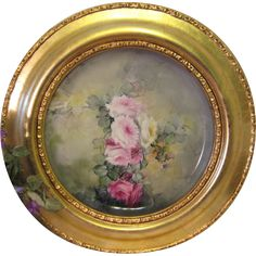 """""""VICTORIAN FRENCH HAND PAINTED TEA ROSES"""" Gorgeous Limoges France Framed Tray ~Chop Plate ~ Charger ~ Magnificent Art Heirloom in Beautiful Roman Gold Ornate Frame ~ Collector Piece Gorgeous Master Artistry Circa 1906"""