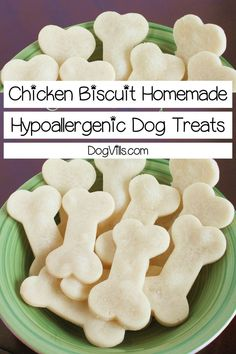 Looking for a super easy hypoallergenic dog treats recipe that you can make for Fido? Our chicken biscuits only have four gentle ingredients! Dog Treat Recipes, Healthy Dog Treats, Dog Food Recipes, Food Tips, Hypoallergenic Dog Treats, Homemade Dog Toys, Frozen Dog Treats, Chicken And Biscuits, Dog Nutrition