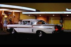 American Graffiti 1958 Chevrolet Impala: It's Steve's car, but it's Terry the Toad who gets this ride in George Lucas' 1973 film about one summer night in 1962 ★。☆。JpM ENTERTAINMENT ☆。★。 Famous Movie Cars, American Graffiti, Car Chevrolet, Chevrolet Impala, Great Movies, Drag Racing, Hot Cars, Car Pictures, Classic Cars