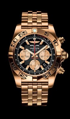 Chronomat 44 diver's watch by Breitling - 18K rose gold case and Pilot bracelet with onyx black dial.