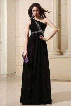 Black dress A-line One-shoulder Empire Chiffon Floor-length Evening Dresses