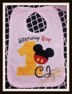 Mickey first birthday bib with name