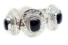Black Onyx 925 Sterling Silver Bracelet elegant Black handcrafted AU gift