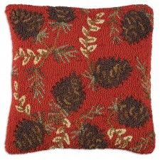 "Ruby Pinecones 18"" Pillow"