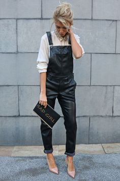 leather-jumpsuit-street-style-fun-bag