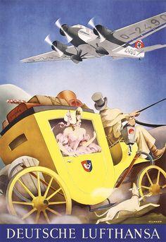 Rare Old Original 1930s Lufthansa Airline Travel Poster