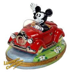 Mickey Mouse in Red Car Disney Limoges Box by Artoria | LimogesCollector.com