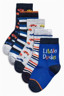 Five Pack Bright Car Socks (Younger Boys)