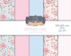 Shabby Chic Digital Paper Pack Coral Pink Mint Green by KeyEleven