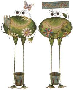 Benzara 27120 Creative Styled Standing Metal Frog Planter 2 Assorted