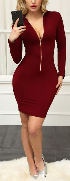 Reversible Zipper Up Bodycon Dress Tight Dresses, Sexy Dresses, Cute Dresses, Short Dresses, Fashion Dresses, Night Outfits, Chic Outfits, Dress Outfits, Girl Fashion