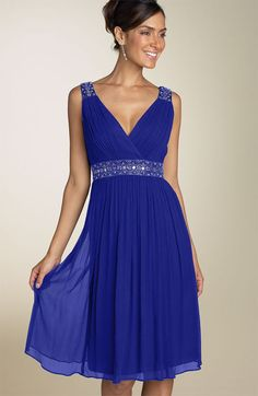 Beaded V Neck Ruched Waistband Knee Length Royal Blue Chiffon Bridesmaid Dresses [RL-BD5026a] - $118.00 : Roman Love Wholesale Custom Made Wedding Dresses Evening Dresses Cocktail Dresses Prom Gowns Shop