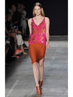 Narciso Rodriguez rust orange and pink floral print dress shown during Mercedes Benz Fashion Week Spring/Summer 2013 in New York City. #NYFW #models