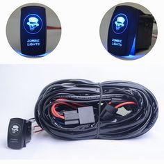 MICTUNING Heavy Duty 2 Lead LED Light Bar Wiring Harness Relay Fuse ON/OFF Rocker Switch Blue