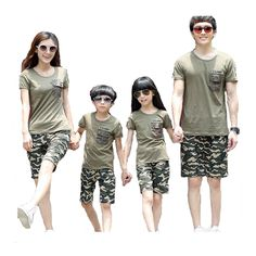 52f4d1615bc 2016 Family Matching Clothes Summer Style Clothing for Mother and Children  and Father Black Cool Army Green Short-Sleeve T-shirt