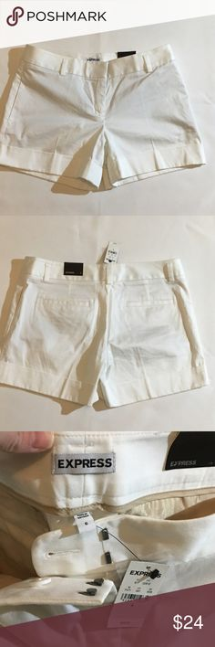 "Express classic white cuffed shorts, size 6. NWT. Express white cuffed shorts, size 6. NWT. Professional cuffed shorts with belt loops, zipper and hidden hook and bar closer. 4 pockets. 4.25"" inseam, 16"" waist. Mid rise. 99% cotton, 1% spandex. Machine wash, line dry. Express Shorts"