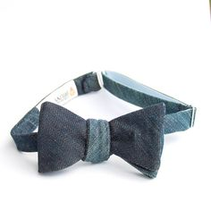 denim bow tie Ambassador Bruny for xoelle by xoelle on Etsy, $50.00