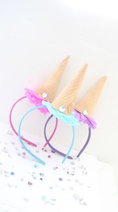 Ice Cream Party Headband/Ice Cream por ThePartyGirlStudio en Etsy