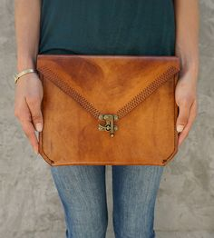 Large Leather Envelope Clutch | A playful, free-spirited leather clutch for small loads, this ... | Handbags, Wallets & Cases